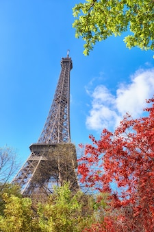 Paris, eiffel tower on a bright day in spring