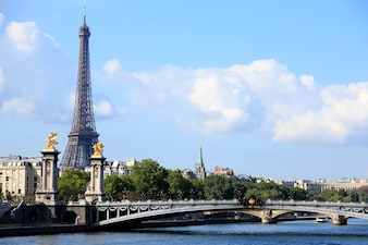 Paris eiffel tower with bridge
