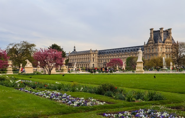 Paris  france  april   marvelous spring tuileries garden and view at the louvre palace