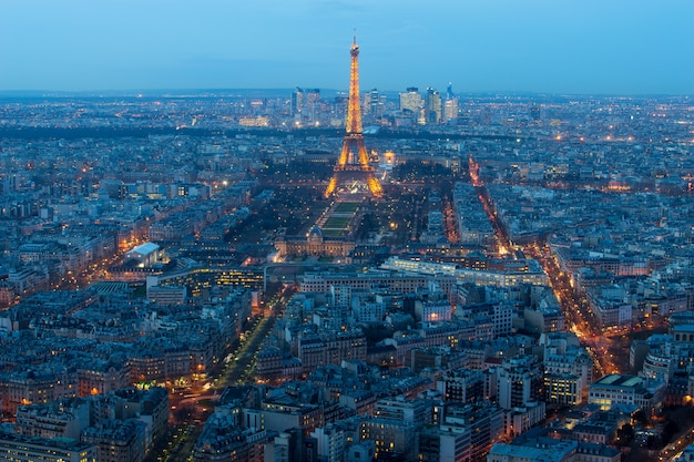 Paris, france january 15, 2015: aerial view on the eiffel tower, arc de triomphe, les invalides.