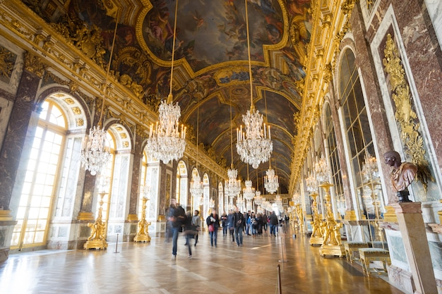 Paris, france january 15, 2015:  hall of mirrors, interior of versailles palace, france.