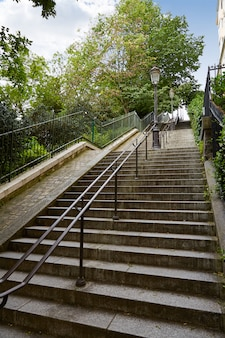 Paris montmartre stairs to sacre coeur