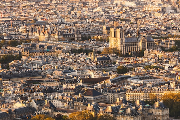 Paris, notre dame cathedral aerial view at sunset