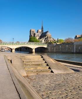Paris, panorama over river seine towards notre-dame cathedral