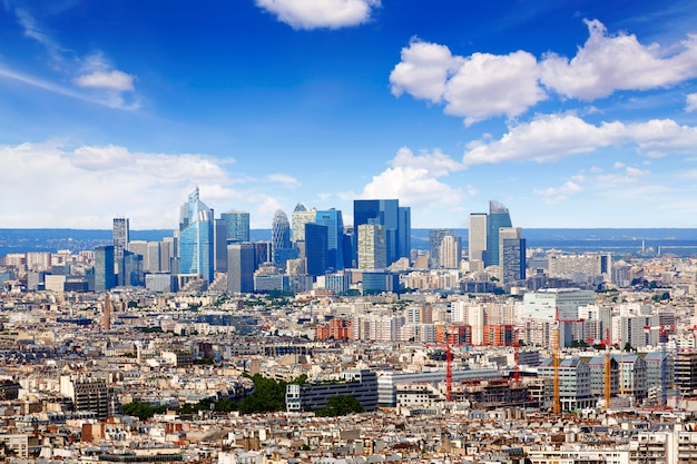 Paris skyline aerial from montmartre