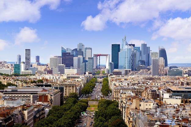 Paris skyline aerial view france