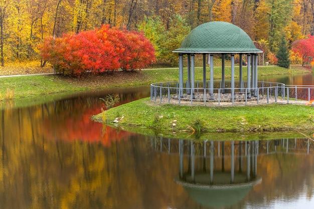 Парк осень природа панорама пейзаж сад разноцветные деревья сезон осеннее настроение