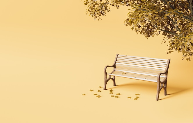 Park bench under autumn tree with fallen leaves on soft studio background