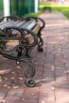 Скамейка в парке на аллее. объект из металла и дерева для отдыха. осенняя городская природа.