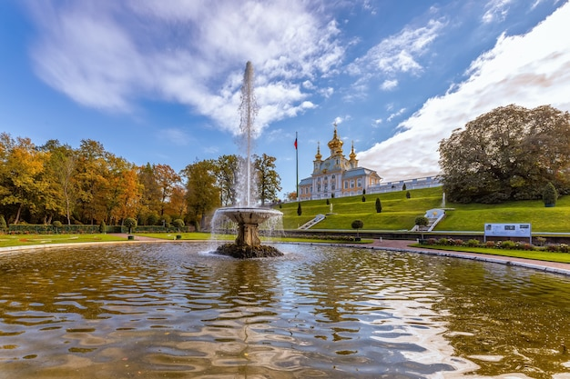 Park and church pavilion museum in peterhof saint perersburg russia
