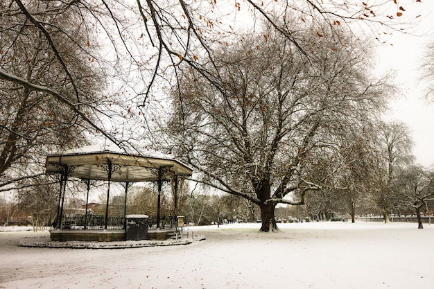 Park of england after a heavy snow