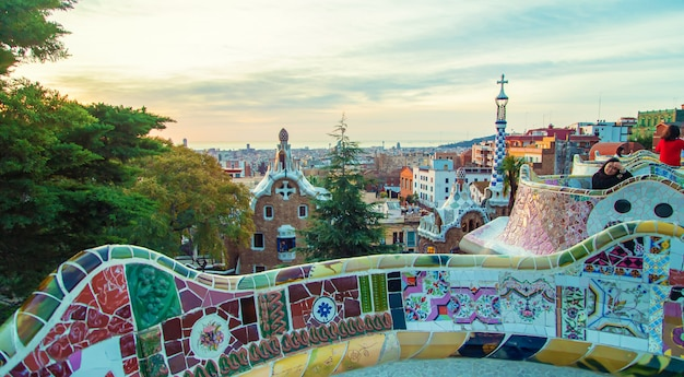Park guell barcelona at sunrise. selective focus. Premium Photo