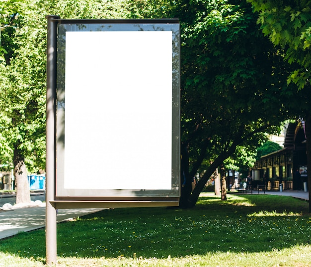 Park white billboard, placed in the square.