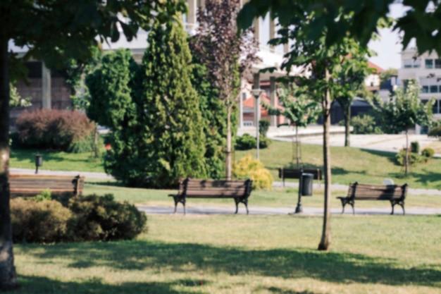 Parco con panchine e lampada