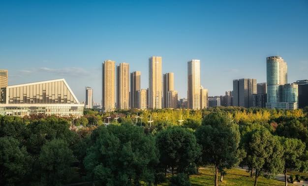 Парк леса и городской современной архитектуры фон