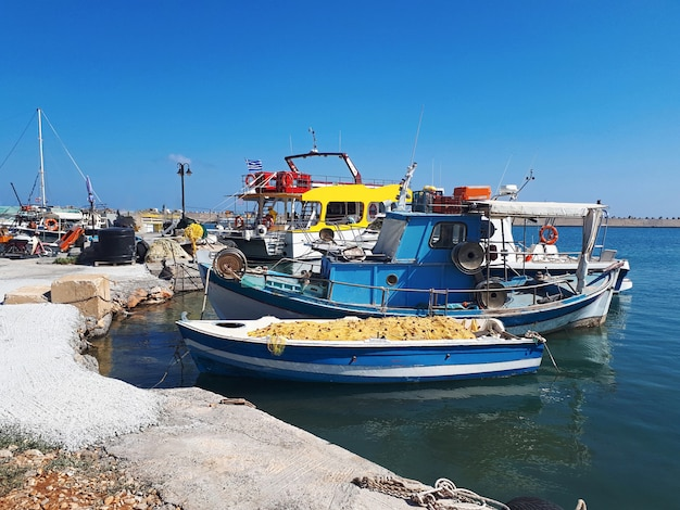 Parked boats in crete island