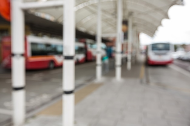 Parked buses at bus station
