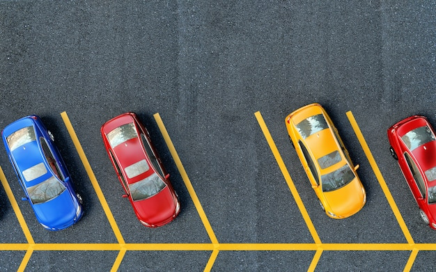 駐車場に駐車中の車。 1か所は無料