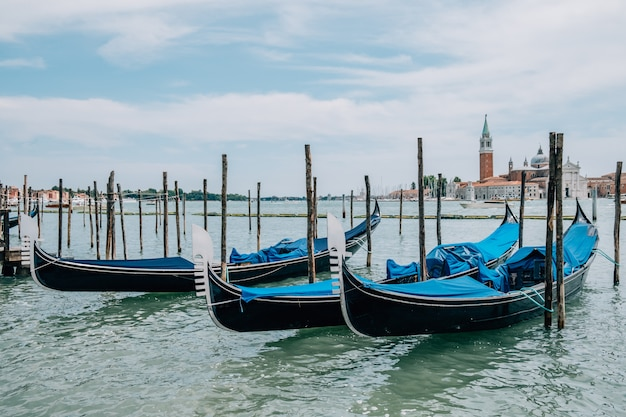 Parked gondolas on the water in the summer.