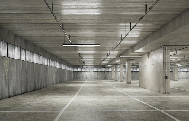 Parking area space with grunge texture style. 3d rendering