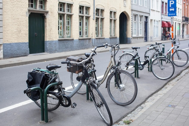 Parking for bicycles in the center of old european city