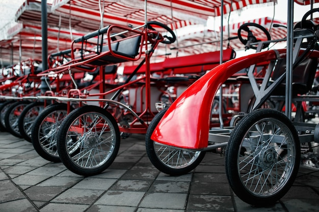 The parking of four wheeled bicycles, velomobiles