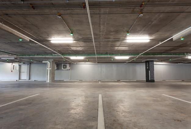 Parking garage interior, industrial building, empty underground interior