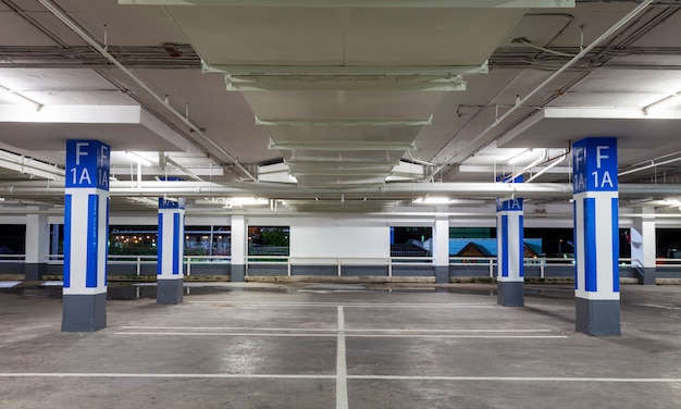 Parking garage interior, industrial building, empty underground