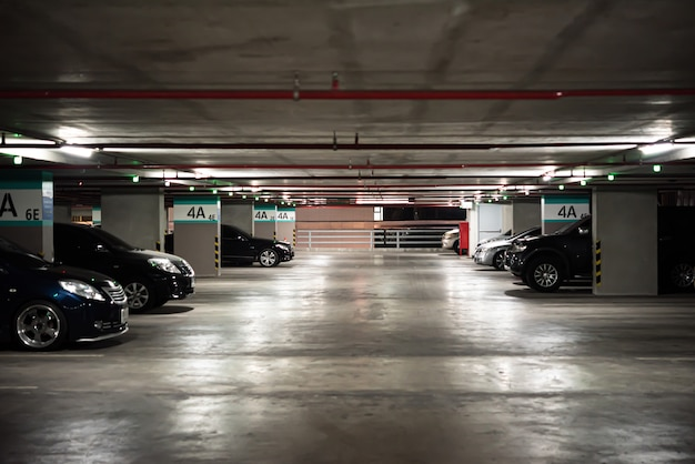 Parking lot or car park building in urban areas