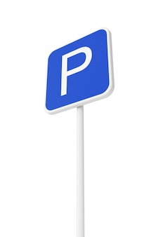 白い背景の駐車道路交通標識。 3dレンダリング