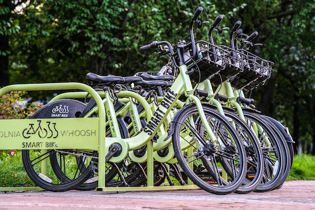 Parking smart bikes. bicycles are fixed by gps blockers.