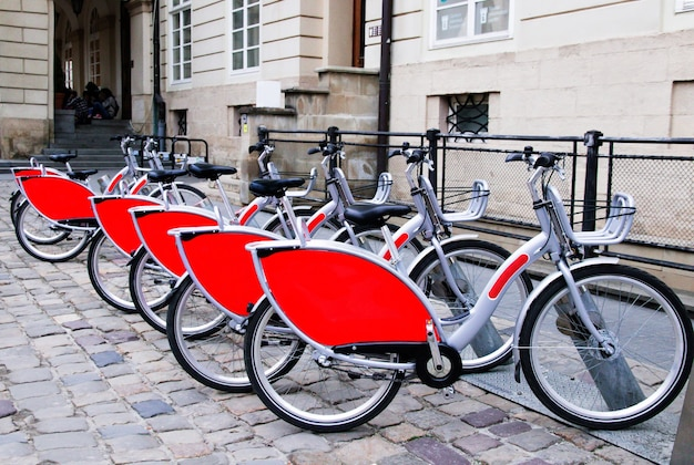 Parking of the transport on the alternative energy in the old town for excursions of tourists