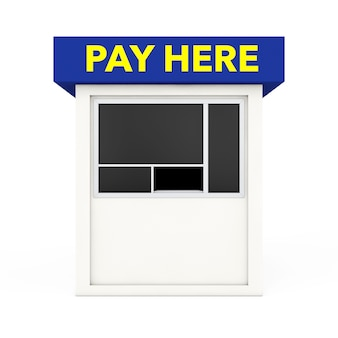 Parking zone booth with pay here sign on a white background. 3d rendering.