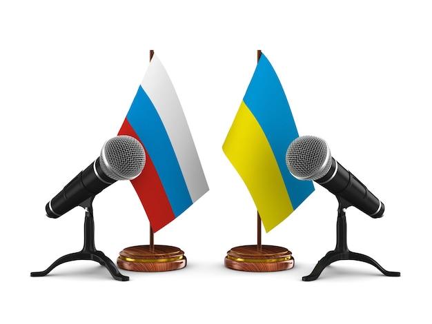 Переговоры между россией и украиной на белом фоне 3d иллюстрация