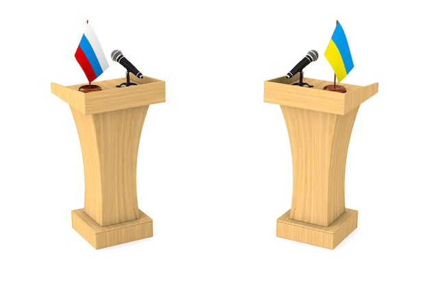 Parley between russia and ukraine white background.3d illustration