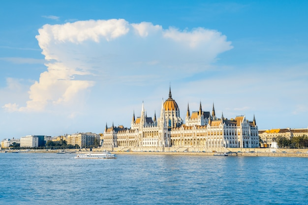 Parliament building in budapest, hungary on a bright sunny day