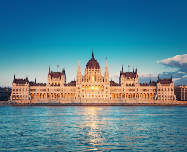 Parliament building in budapest, hungary on a sunset