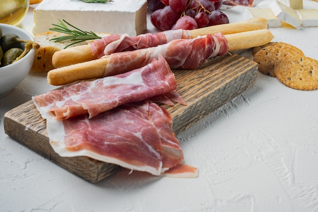 Parma ham set, on white