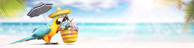 Попугай на песчаном пляже у моря. предпосылка праздника пляжа.