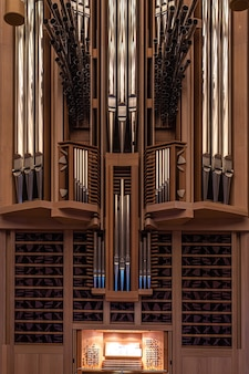 Part of big organ at the moscow house of music register with different pipes musical instrument selected focus