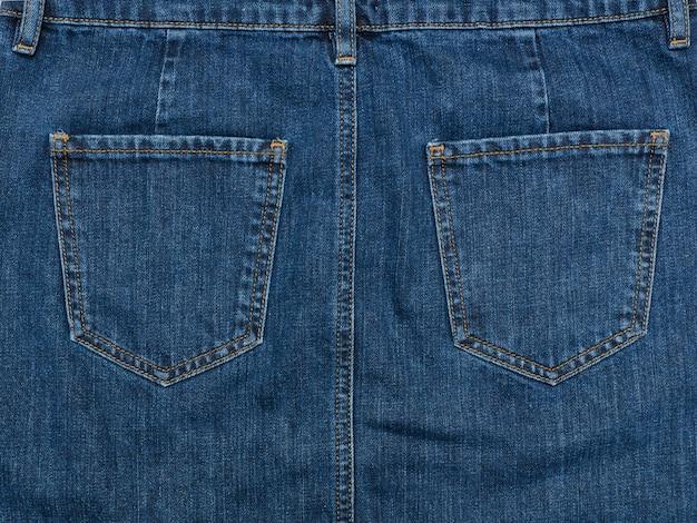 Part of the blue denim skirt
