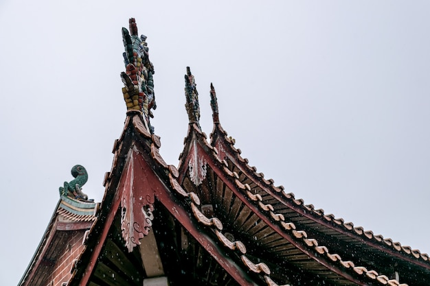 Part of chinese traditional buddhist architecture in the rain