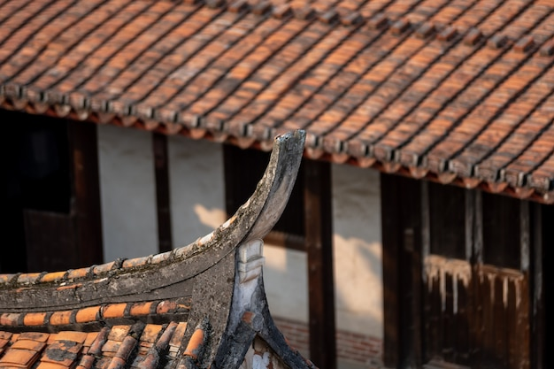 Part of chinese traditional red brick architecture