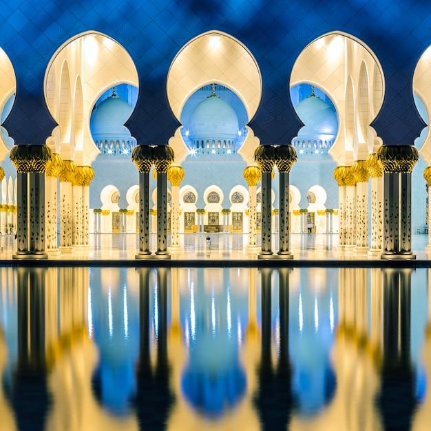 Part of famous mosque, abu dhabi, at night