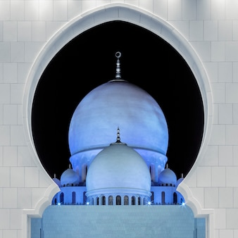Part of famous sheikh zayed grand mosque by night, uae