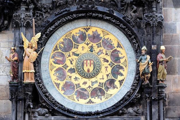 Parte del famoso orologio zodiacale nella città di praga
