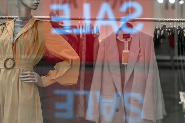 Part of female mannequin dressed in casual clothes