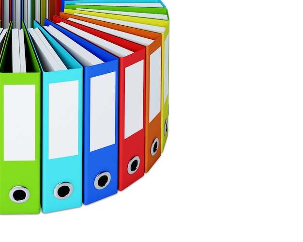A part of multicolored folders forming a circle isolated
