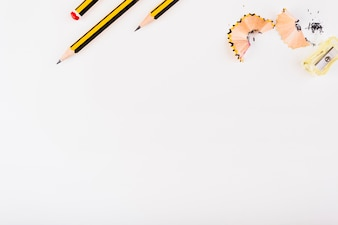 Part of black-yellow pencils, sharpener and shavings