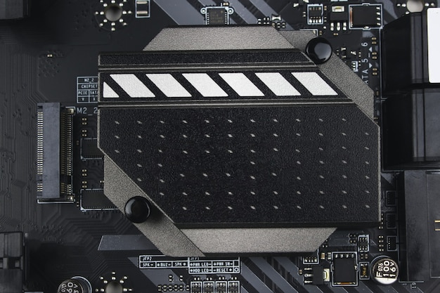 전자 시스템 컴퓨터 마더보드의 일부입니다. 정보 공학 구성 요소입니다.